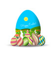 spring easter background with egg and bunny vector image vector image