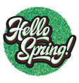 stylized calligraphic inscription hello spring on vector image vector image