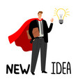 superhero businessman with light bulb vector image vector image