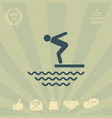 swimmer on a springboard jumping into the water vector image vector image
