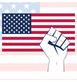 usa flag with fist independence background vector image