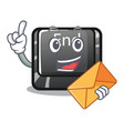 with envelope button end in shape character vector image