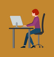young woman sitting in front computer and vector image