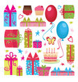 colorful birthday party set vector image