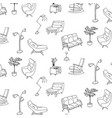 60s style furniture interior sketch pattern cute vector image