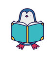 back to school education cute penguin reading book vector image vector image