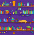 books cat and other things on shelves vector image vector image