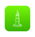 burnt candle icon green vector image vector image