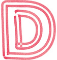 Capital letter D drawing with Red Marker vector image vector image