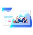 car wash service website landing page workers vector image vector image