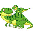 cartoon mother and baby dinosaur vector image vector image