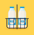 classic milk bottles in wire carrier flat design vector image
