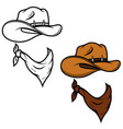 cowboy hat and bandana isolated on white vector image vector image