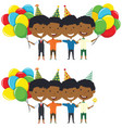 cute african-american boys huggings and carrying vector image vector image