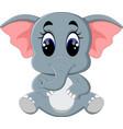 cute elephant cartoon sitting vector image