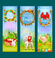 easter holiday and egg hunt banner template set vector image vector image