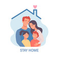 family in isolationstay home template for banner vector image vector image
