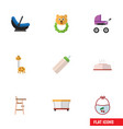 flat icon baby set of child chair pinafore vector image vector image
