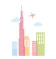 flying plane skyscraper skyline architecture city vector image