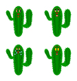 Funny cartoon cacti on a white background vector image