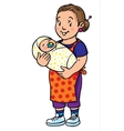 Funny mother or nanny with baby Coloring book vector image vector image