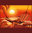 hammock on the beach at sunset vector image vector image