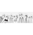 hand drawn clapping human hands doodle set vector image vector image