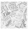 How To Make Working From Home A Success Word Cloud vector image vector image