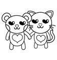 line enamored bear and cat couple animals vector image vector image
