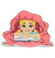Little girl reading book in bed under blanket vector image vector image
