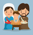 merry christmas nativity scene with holy family vector image vector image
