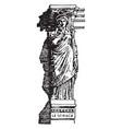 modern caryatid head vintage engraving vector image vector image