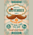 movember mustache party vector image