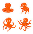 octopus emotional characters emoji drawings vector image vector image