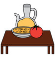 olive oil tomato soup on table food icon image vector image