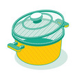 outline isometric saucepan with lid isolated vector image