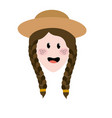 pretty woman face with hat vector image vector image
