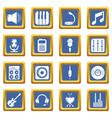 recording studio symbols icons set blue square vector image