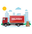red delivery truck and cardboard boxes cityscape vector image