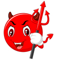 Red Halloween emoticon Devil with Trident in Carto vector image vector image