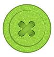 Round button with green sewing texture holes and vector image