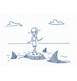 scared businesswoman doodle standing on rock vector image