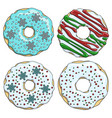 set cartoon colorful christmas donuts vector image vector image