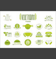 set food labels with text vegetarian vector image