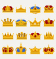set of royal king or prince crown pope tiara vector image vector image