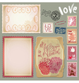 Set of vintage postcards for Valentines Day design vector image vector image