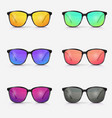 set sunglasses eyeglasses with color vector image vector image