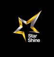 shiny gold silver star logo symbol icon vector image