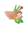 stone mortar with green leaves and pestle spa vector image