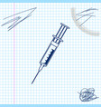syringe line sketch icon isolated on white vector image